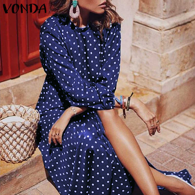 VONDA 2019 サマードレスの女性 Caual ルースマキシロングドレス Vestidos プラスサイズボヘミアンパーティーナイトローブファムヴィンテージドレス 5XL