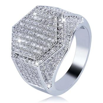 Anillos para mujer, anillo de Metal cerrado creativo con diseño geométrico y espejo de circonio cuadrado a la moda, conjunto de decoración, joyería para fiestas y bodas