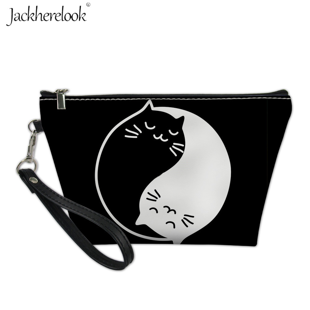 Jackherelook Chinese Yin Yang Style Pattern Cosmetic Bag Cute White Black Cat Round Makeup Bags Toiletry Storag Pouch For Women