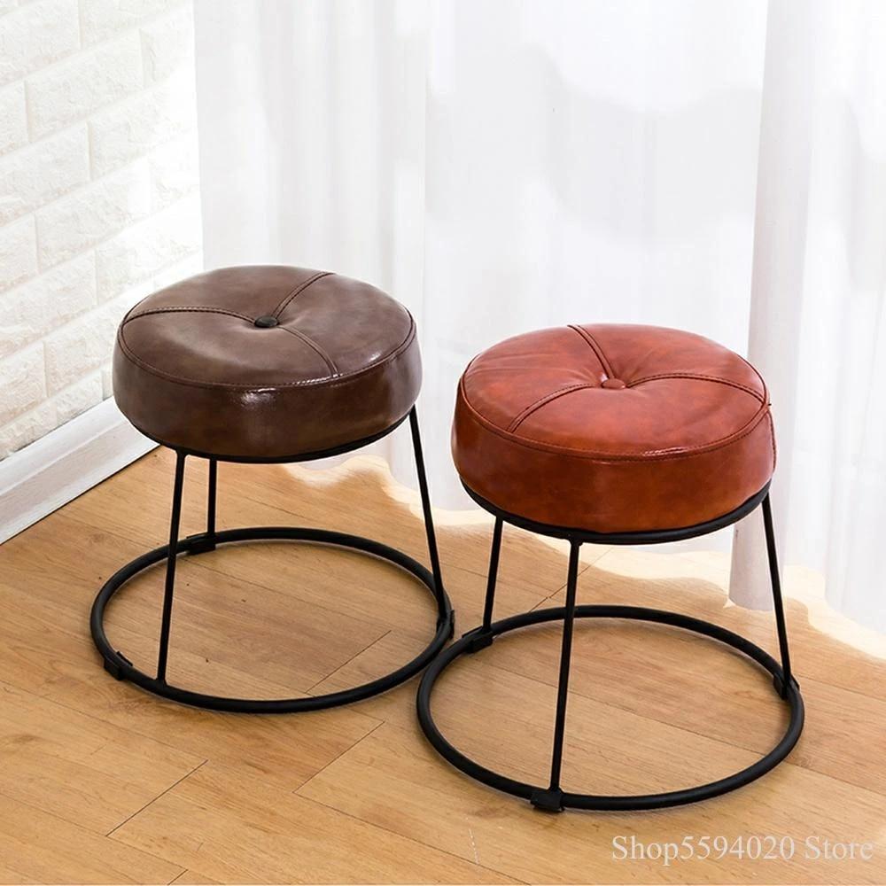 creative simple iron stool leather table stool sofa stool small round stool modern fashion bedroom stool leather ottoman small