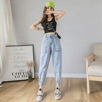 Fashion Spring New 2019 Brief Jeans Casual Pocket Zip Loose Women Pants High Waist Vintage Button Harem Pants