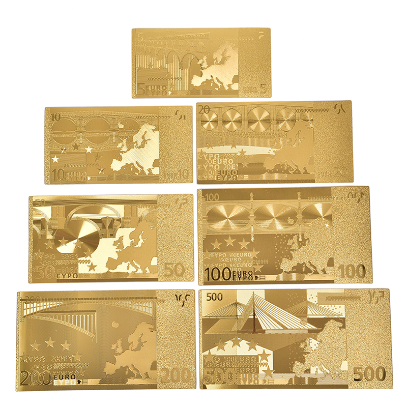 7 folhas/conjuntos de barras de arte de plástico, à prova d' água, folha de ouro, coleção de criatividade, lembrança, cópia de dinheiro falso, dólares euro