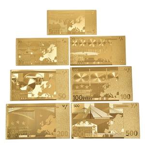7 Sheets/Sets Waterproof Plastic Gold Foil Art Bar Creativity Collection Souvenir copy Fake Money Euro Dollars(China)