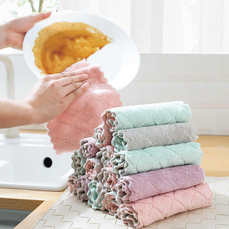 Double Sided Kitchen Towel Absorbent Dish Cloth Non-stick Oil scouring pad House