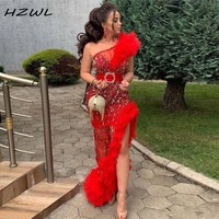 Sexy Red One Shoulder Prom Dresses With Sash Beaded Sequined Ruffle Side Split Party Dress robes de soirée Mermaid Evening Gowns