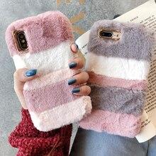 Warm Colorful Cute Plush Rabbit Fur Fluffy phone Case For