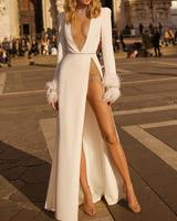 Women Deep V Studded Embellished Winter Dress White Long Sleeves Split Party Dress vestidos