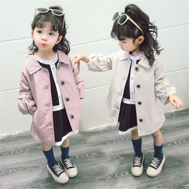 Autumn Baby Girl   Trench   Coat Korean Fashion Puff Sleeves Kids Clothes Lace Stitching Single-breasted Windbreaker 1 2 3 4 5 Years