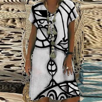 Summer Women Loose Casual Dress Plus Size Short Sleeve V Neck Elegant Dresses For Women Clothing Vestidos Mujer Verano Autumn Casual Dresses Elegant Dresses Evening Party Print Dresses Sexy Slim Spring Summer V Neck Women Color: A Size: 5XL