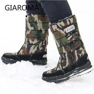 Image 2 - 2019 buty męskie antypoślizgowe średnio wysokie buty z cholewami męskie zimowe buty na śnieg wodoodporny hak pętli projekt platformy buty Bota Masculino rozmiar 47