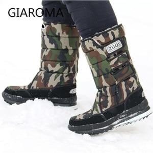 Image 2 - 2019 מגפי גברים אנטי להחליק אמצע עגל מגפי זכר חורף שלג נעליים עמיד למים וו לולאה עיצוב פלטפורמת נעלי בוטה masculino גודל 47