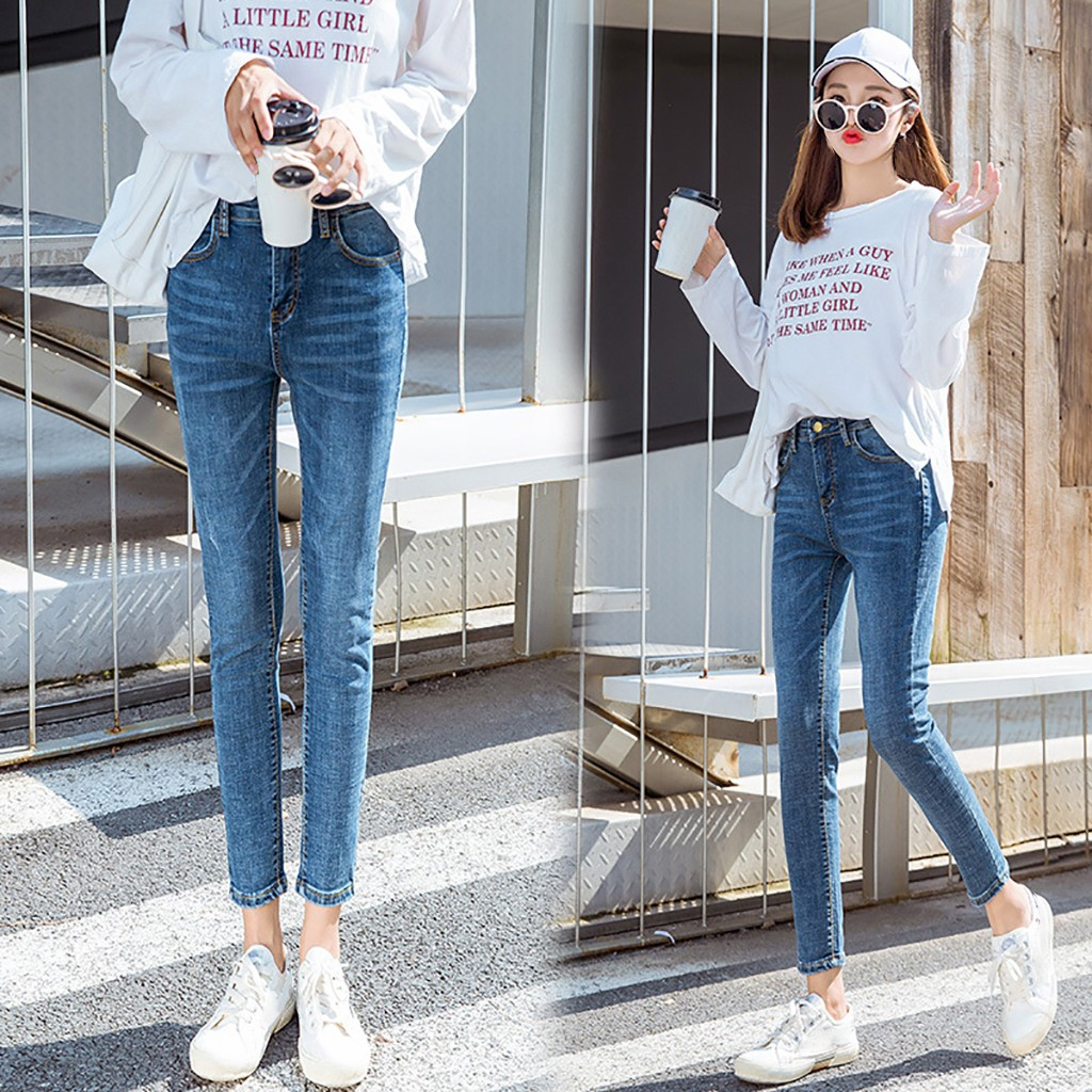 New Fashion Plus Size Jeans For Womens Vintage Casual High-waisted Quality Casual Bamboo Stretch Cowboy Pencil Pants L42