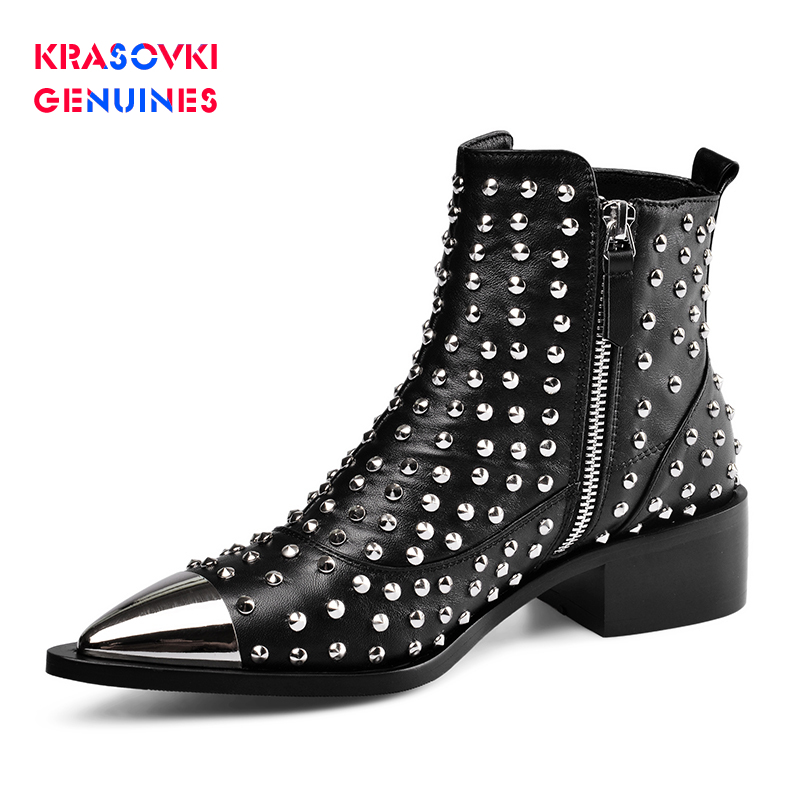 Fashion Buckle Genuine Leather Rivets Motorcycle Ankle Boots Woman Brand Shoes Female Spring/Autumn Boots Sandals Shoes Women