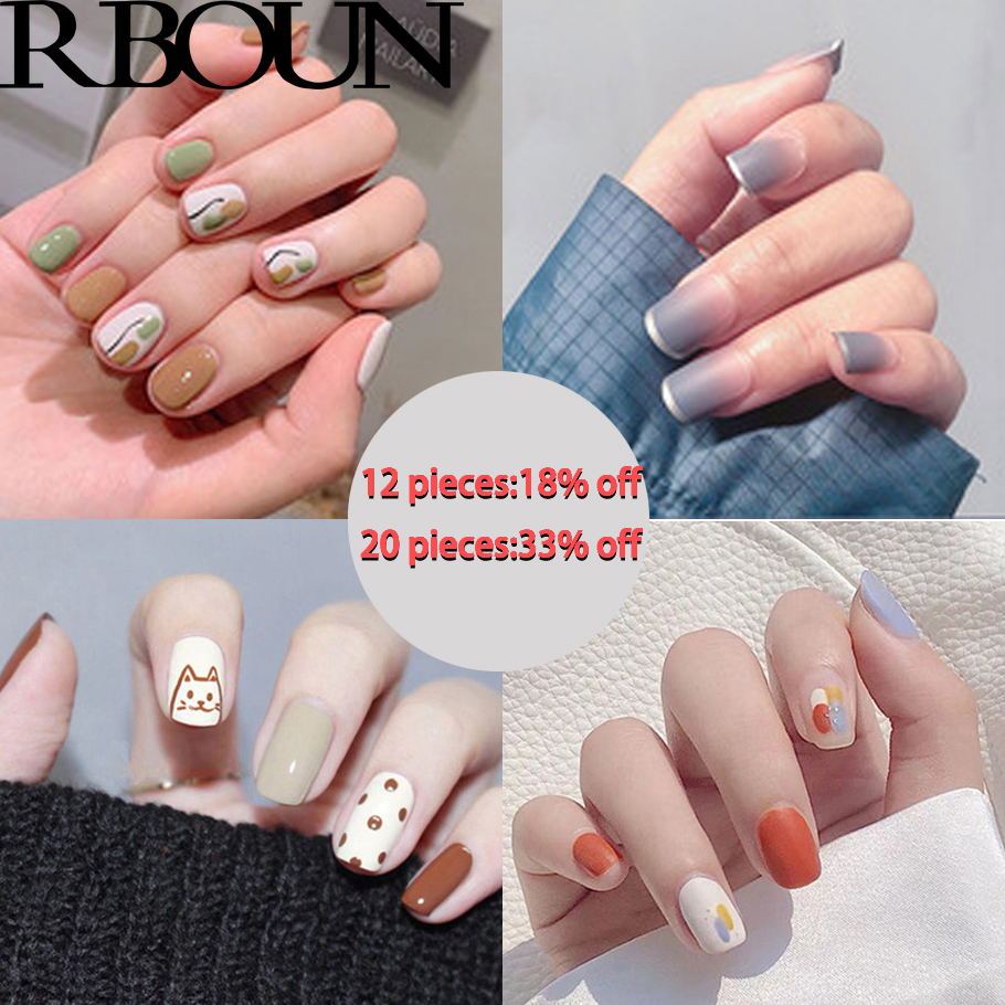 Fake Nails Art Nail Tips Press on False with Designs Set Full Cover Artificial Short Packaging Kiss Display Clear Tipsy Stick 1