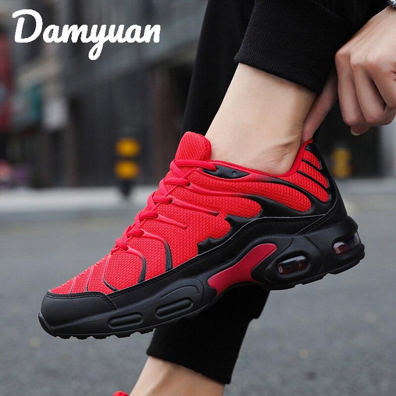 Damyuan 2019 malha respirável homem tênis confortável almofada de ar ao ar livre caminhada aumentada vermelho tênis tamanho grande 46