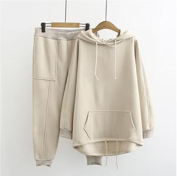 Autumn winter women korean two piece sets hoodie+pants fleece thick womens casual suit plus size clothing XL-3XL 9