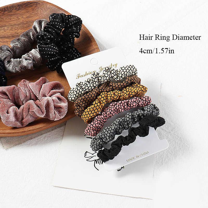 1 ชุดScrunchiesผมแหวนลูกอมสีผมผูกเชือกฤดูใบไม้ร่วงฤดูหนาวผู้หญิงหางม้าผมอุปกรณ์เสริม 4-6PcsหญิงHairbandsของขวัญ