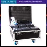 6 unids/lote con caja de carga última versión 600W etapa máquina de fuente de fuegos artificiales en frío para dj