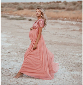 Image 2 - Elegence Maternity Photography Props Pregnancy Dress For Photo Shooting Sequins Tulle Pregnant Women Dresses Maxi Maternity Gown