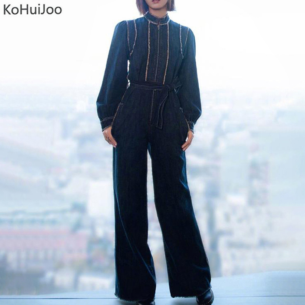 Wide Leg Denim Jumpsuit Women Fashon Spring Solid Elegant Full Length Office Runawy Playsuits Long Pants Overalls Lady Clothing