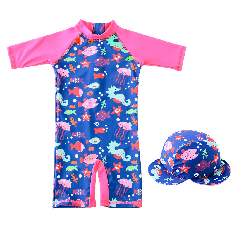 KID'S Swimwear Wholesale GIRL'S One-piece Swimming Suit Infant Baby Sun-resistant Beach Rose-red Aquarium Tour Bathing Suit