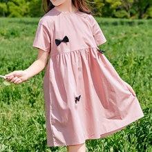 Girls Bow Midi Dress Summer 2021 Sweet Children Clothing Fashion Princess Dresses Casual O Neck Short Sleeve Cute Kids Clothes