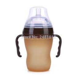 Navo silver Baby silikonowa butelka zielona 180ml dziecko karmienie mlekiem butelka z uchwytem