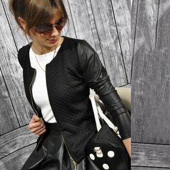 Black White Leather Stitching Jacket for Women Plaid Full Sleeve Zipper Fly Slim Streetwear Coats New Fashion Female Outwear