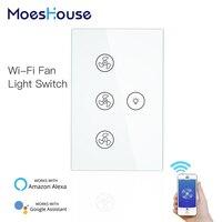 Interruptor de pared con ventilador de techo inteligente WiFi  aplicación remota Smart Life/Tuya con varios controles de velocidad  Compatible con Alexa y Google Home