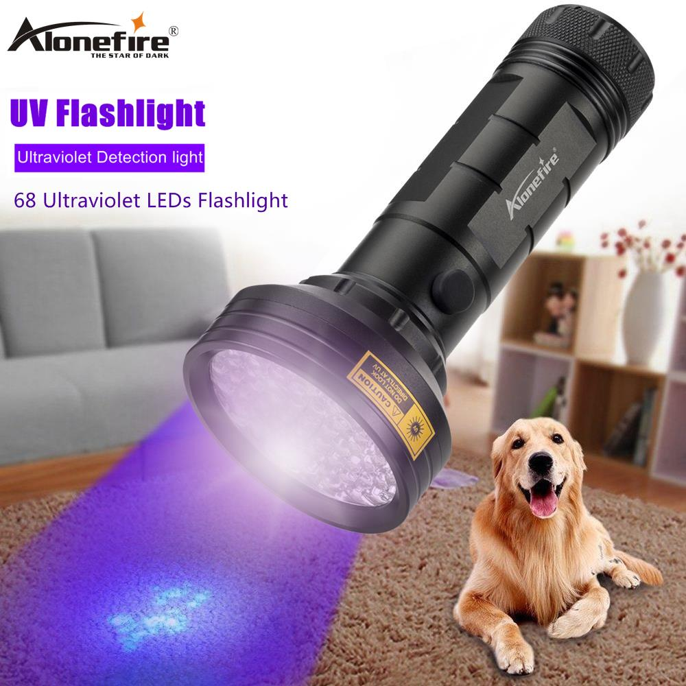 ALONEFIRE 68 LED High Power UV Light 395nm Flashlight Ultraviolet Scorpion Cat Dog Pet Urine Money Detection Torch Lamp AA Cell