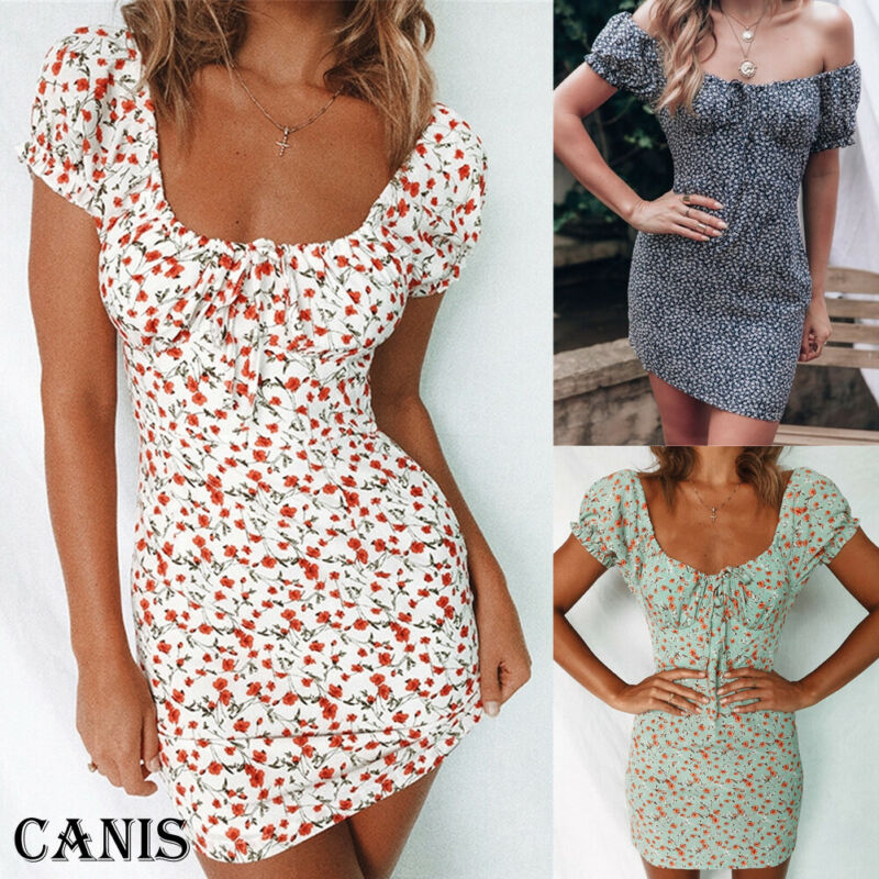 Women Off Shoulder Wrap Summer Boho Floral Mini Print Short Sleeve Evening Party Dress Ladies Holiday Beach