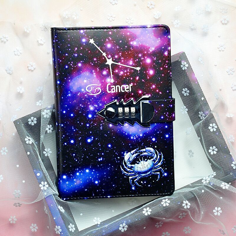 Senha do zodíaco constellation a5 caderno com bloqueio almofadas de escrita lockable bloco de notas diário material escolar presente do estudante