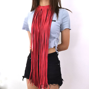 Image 2 - YD&YDBZ New Luxury Leather Necklace For Women Long Tassel Necklace 6 Color High Street Leather Jewelry Bohemia Clothes Accessory