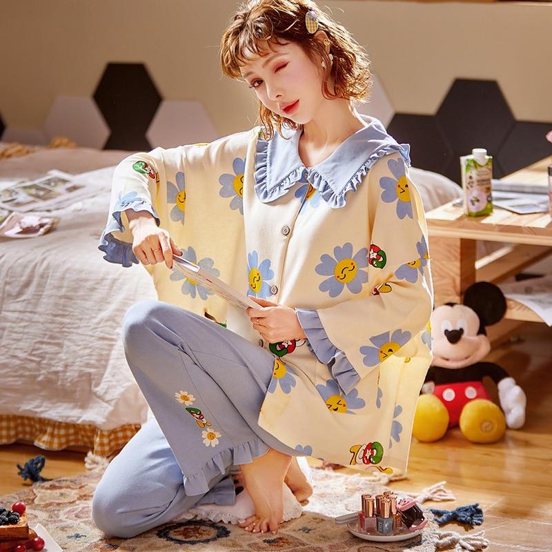 New Cotton Sleepwear Lounge Pajamas For Women 2 Set Piece Pijamas Female Nightwear Long Sleeve Pyjamas Spring  Home Clothes