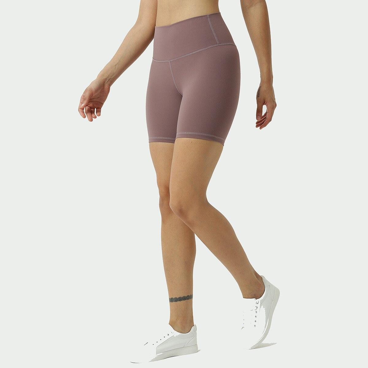 New Style Sports Yoga Shorts Women's Double-Sided Brushed Bare Sense Running Shorts High-waisted Bum Lift Shorts