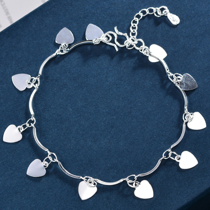 New Arrival Bohemia Women 925 Sterling Silver Beach Anklet On The Leg Heart Pandent Anklets Bracelet Chain For Women Jewelry