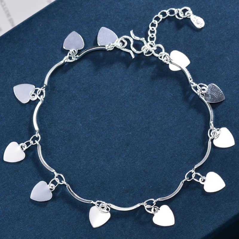 Nova chegada bohemia mulher 925 prata esterlina praia tornozeleira na perna coração pandent tornozeleiras pulseira corrente para mulher jóias
