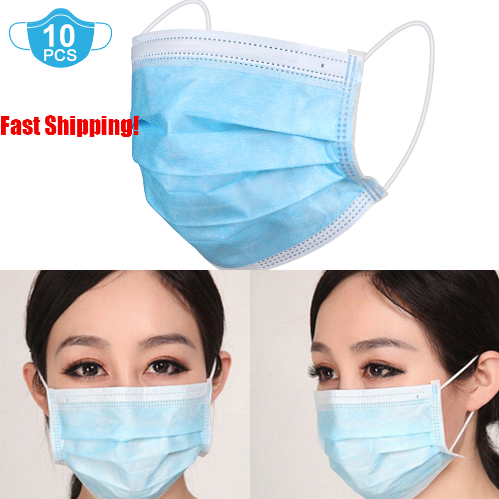 Nonprofit Mask 10pcs Non Woven Disposable Face Masks 3 Layers Dust Filter Dust Bacteria Filter Breathable Earloop Masks A4
