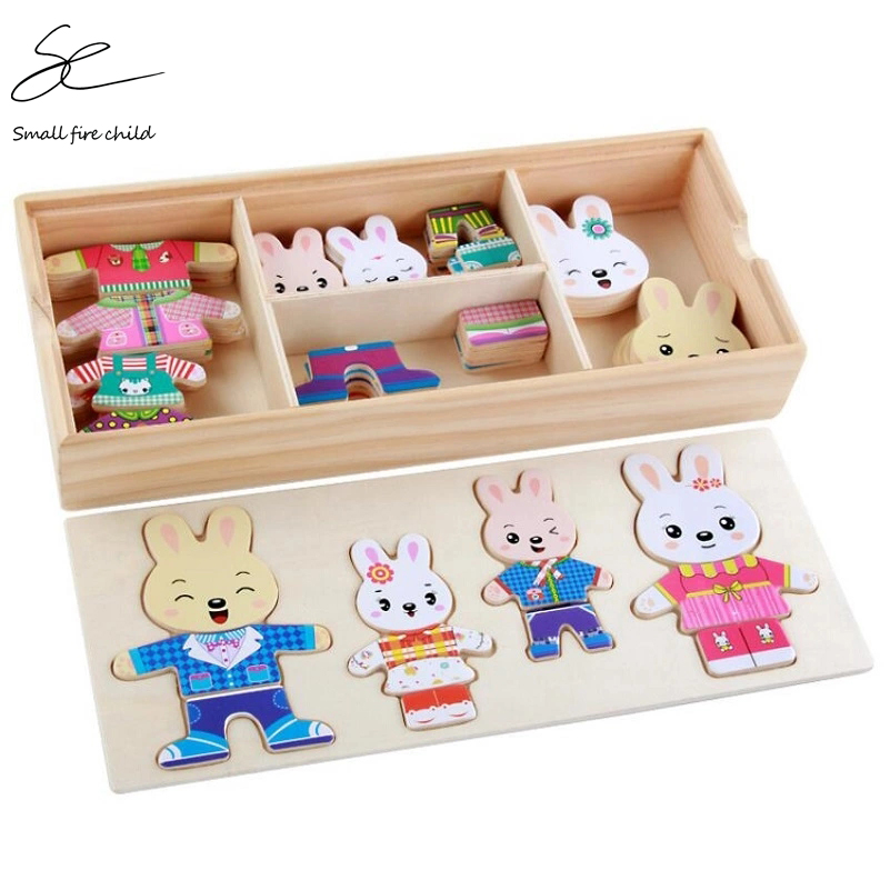 NEW Baby Cute Rabbit Change Clothes Puzzle Early Childhood Wooden Jigsaw Gift Toys For Children