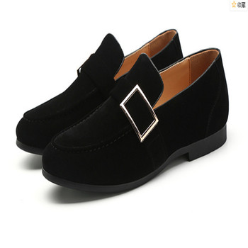 Sapatos Masculino Men Dress Wedding Shoes Formal Round Toe Shoes Suede Shoes Flats Comfortable Loafers Driving Buckle Shoes