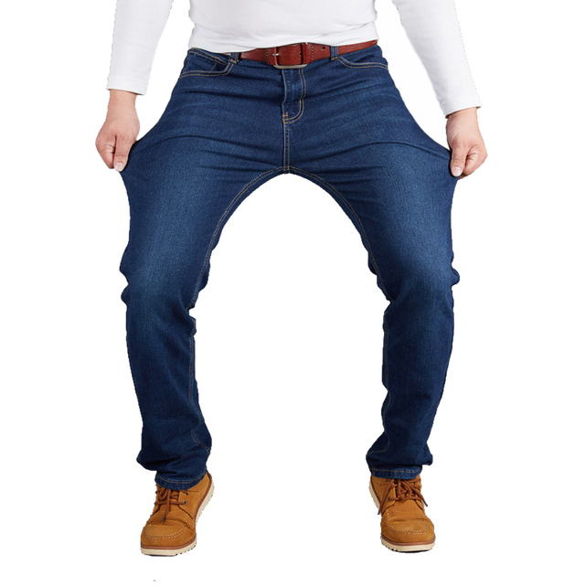 28-50 Big Size Man Pants High Stretch Straight baggy Trousers Fashion Casual Black Blue Denim Male Business Jeans Classic 63