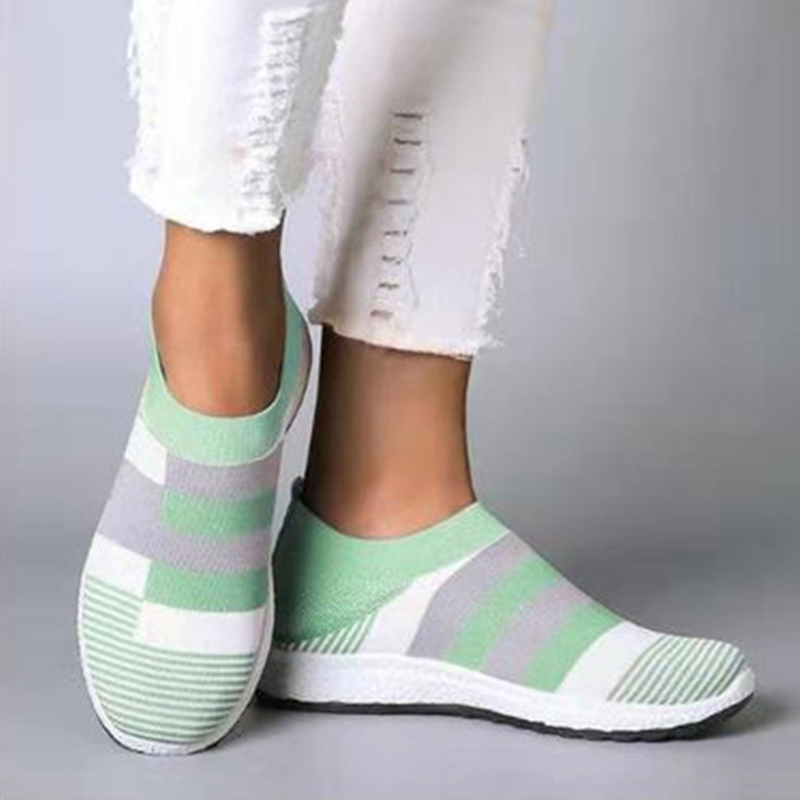 Shoes Woman Sneakers Women Vulcanized Shoes Knitted Flat 2020 Mesh Ladies Sneakers Slip On Women Zapatillas Mujer Casual Shoes