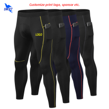 Leggings LOGO Running-Tights Compression-Pants Fitness Sports Gym Men with Pockets Customize