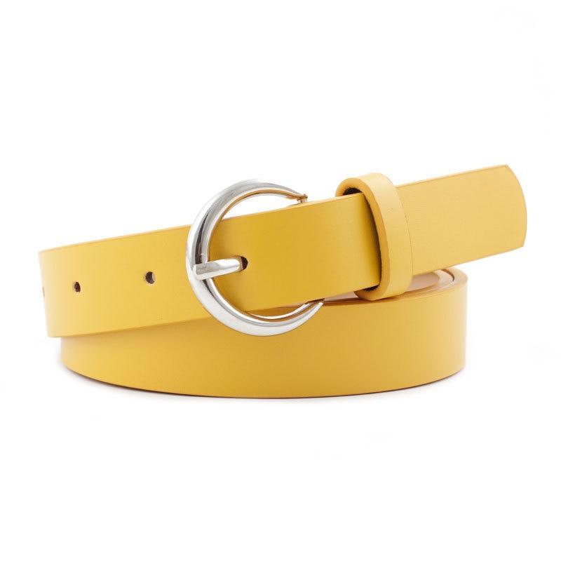 Hot Sale Triangle Round Buckle Belts Female Leisure Jeans Wild Belt Metal Buckle Black Strap Belt For Women