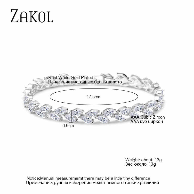 ZAKOL, трендовые ювелирные изделия невесты, белый цвет, лист, шарм, кубический цирконий, браслет и браслеты, прозрачный CZ Кристалл, браслеты для женщин FSBP061