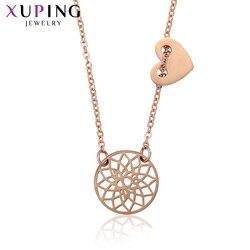 Xuping luksusowy romantyczny projekt okrągły kształt różowe złoto-kolorowy platerowany wisiorek dla kobiet biżuteria kolorowe prezenty 45916