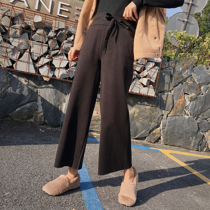 New Women's Winter   Wide     Leg     Pants   Women Plus Size   Pant   Autumn Trousers Ankle Length Straight Tube Black Loose   Pants   Thick Casual