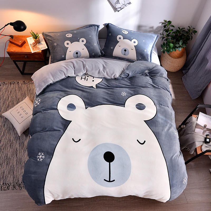 Flannel Bedding Set Kids Bedding Bed Sleeping Bear Bed Set Gray Bed Linen Twin Queen Size Bed Sheet Lovely Duvet Cover Set Bedding Sets Aliexpress