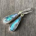 Geometry Moonstone Boho Female Long Dangle Earrings Vintage Silver Color Drop Earrings For Women Round Zircon Wedding Earrings