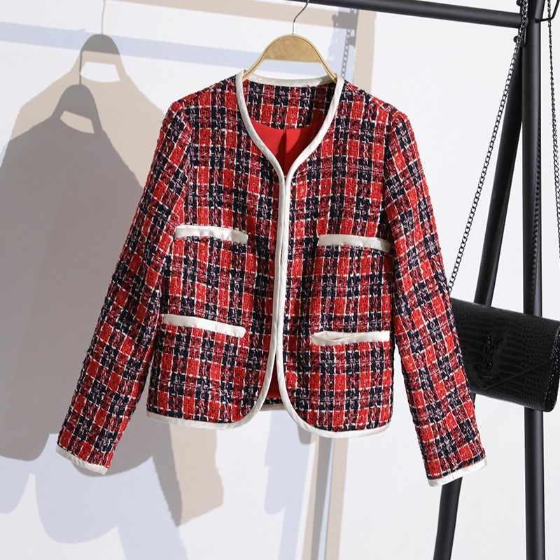 Panie jesienno-zimowa Slim Fit Plaid Tweed 2 szt. Zestawy z długim rękawem ukryte piersi krótkie płaszcze łuk Patchwork sukienka bez rękawów